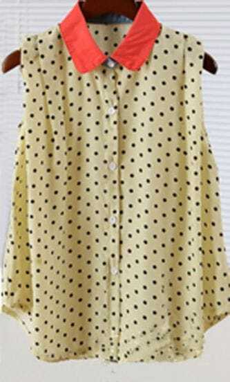 Beige Polka Dot Sleeveless Curved Hem Chiffon Shirt