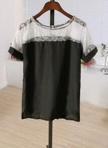 Black Lace Patched Scoop Neck Short Sleeve Chiffon Blouse
