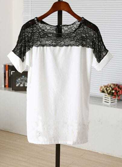 White Lace Patched Scoop Neck Short Sleeve Chiffon Blouse