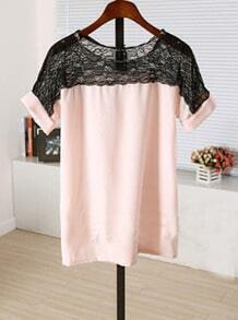 Pink Lace Patched Scoop Neck Short Sleeve Chiffon Blouse