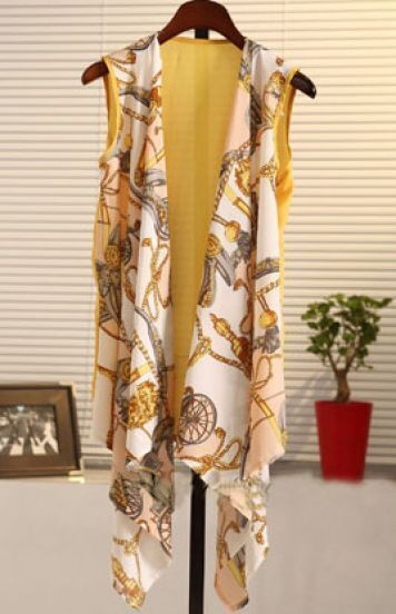 Yellow Tribal Print Drape Front Vest