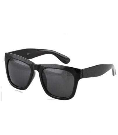 Bright Black Plastic Retro Wayfarer Sunglasses