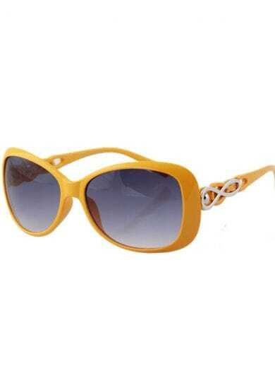 Yellow Plastic Fashion Cat Eye Sunglasses