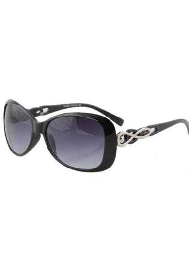 Bright Black Plastic Fashion Cat Eye Sunglasses