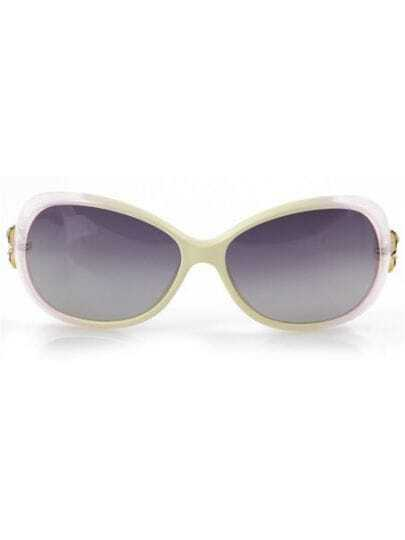 Beige Fashion PC Wayfarer Plastic Frame Sunglasses