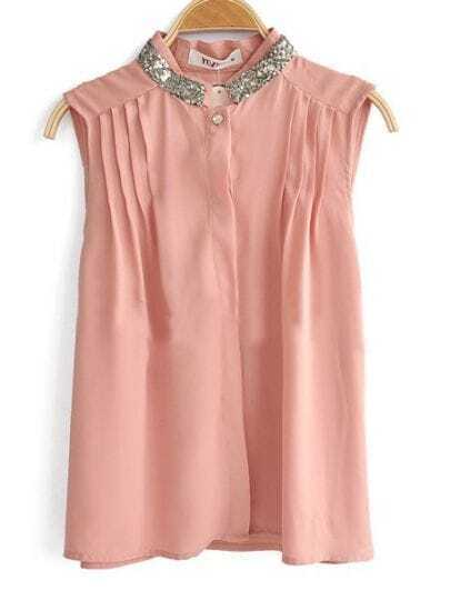 Pink Sequin Collar Sleeveless Pintuck Pleat Front Shirt
