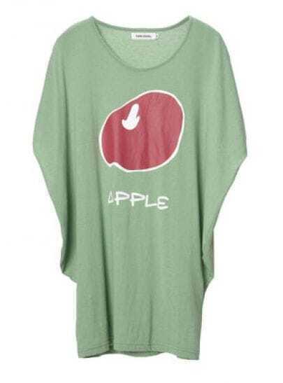 Dark Green Apple Print Short Dolman Sleeve Round Neck T-shirt