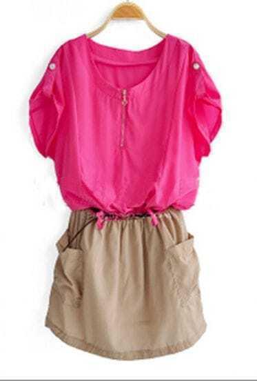 Pink Short Sleeve Zipper Front Shirt Belt Dress With Pocket