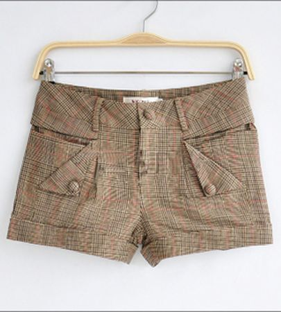 Brown Plaid Low Waist Turn Up Short With Button Pockets