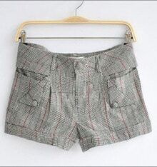 Grey Plaid Low Waist Turn Up Short With Button Pockets