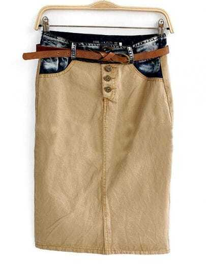 Khaki Jeans Patched High Waist Skirt With Belt