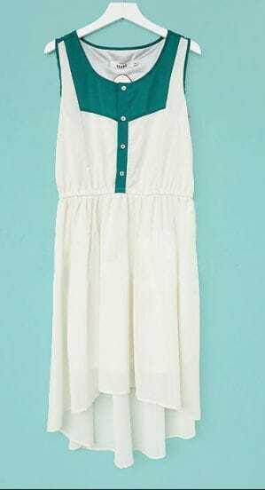 White and Green Elastic Waist High Low Sleeveless Chiffon Dress