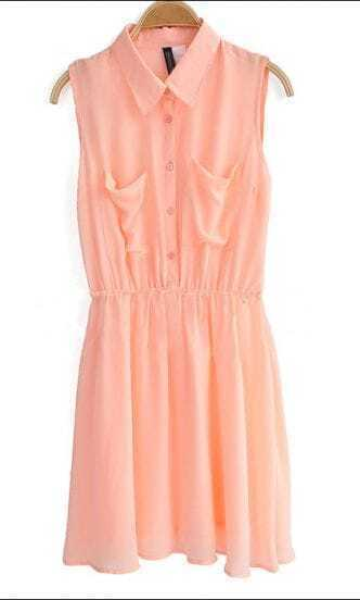 Pink Lapel Elastic Waist Sleeveless Chiffon Shirt Dress With Pocket