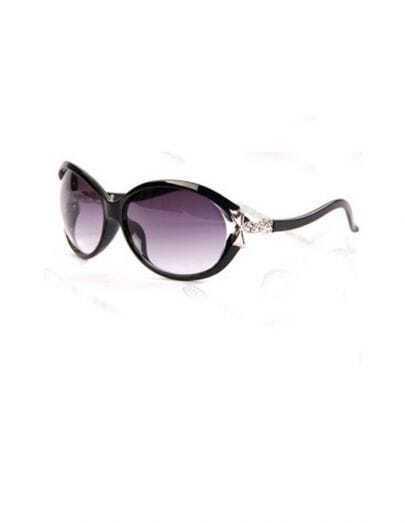 Bright Black Plastic Fashion Butterfly Sunglasses