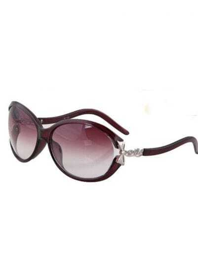 Purple and Black Plastic Fashion Butterfly Sunglasses