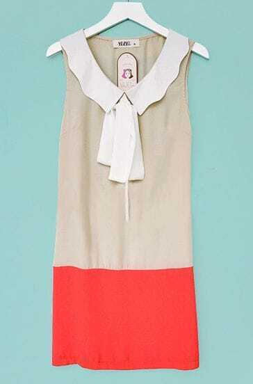 Red and White Bow Tie Lapel Sleeveless Chiffon Dress