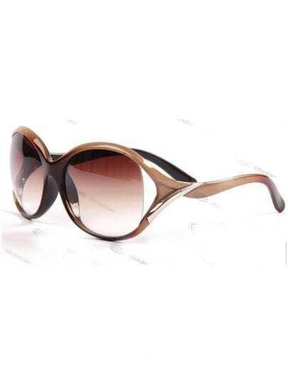 Brown Plastic Fashion Round Sunglasses