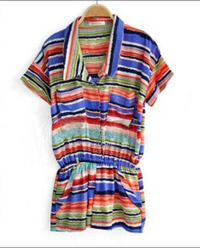 Chiffon Strip Patchwork Print Elastic Waist Jumpsuit With Pockets