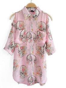 Pink Half Split Sleeve Floral Print Curved Hem Chiffon Shirt