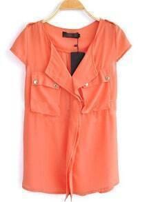 Orange V Neck And Concealed Placket Studded Pockets Chiffon Shirt