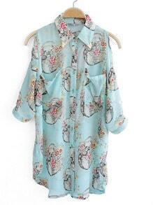 Blue Half Split Sleeve Floral Print Curved Hem Chiffon Shirt