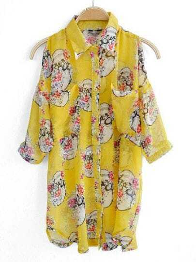 Yellow Half Split Sleeve Floral Print Curved Hem Chiffon Shirt