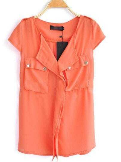 Orange V Neck And Concealed Placket Studded Pockets Chiffon Shirt