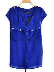Blue V Neck And Concealed Placket Studded Pockets Chiffon Shirt