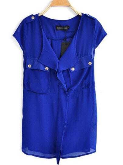 Blue V Neck And Concealed Placket Studded Pockets Chiffon Shirt