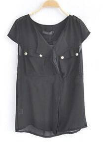Black V Neck And Concealed Placket Studded Pockets Chiffon Shirt