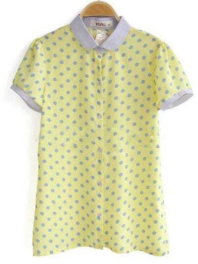 Yellow Contrast Collar and Cuffs Polka Dot Chiffon Shirt