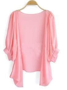 Pink Puff Half Sleeve Dipped Hem Chiffon Cardigan