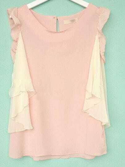 Pink Sleeveless Ruffles Side Zip Back Chiffon Blouse