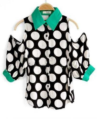 Green Puff Sleeve Exposed Shoulder Polka Dot Shirt