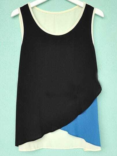 Black Blue Sleeveless Criss Cross Front Chiffon Tank Top