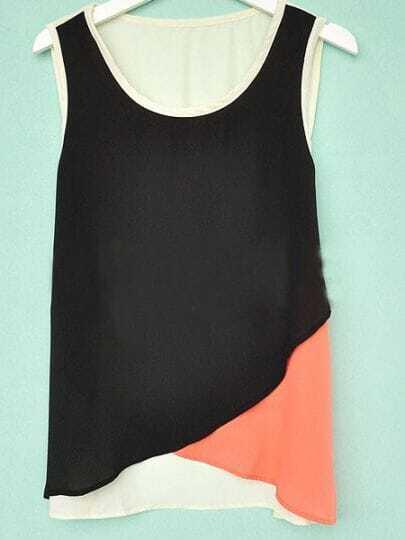 Black Orange Sleeveless Criss Cross Front Chiffon Tank Top