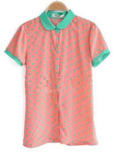 Orange Contrast Collar and Cuffs Polka Dot Chiffon Shirt