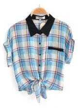 Blue Short Sleeve Check Print Bow Tie Front Shirt