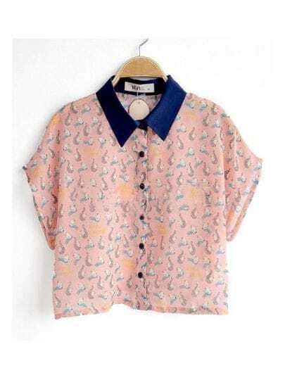 Pink Contrast Collar Short Sleeve Print Chiffon Crop Shirt