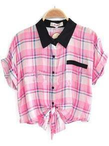 Pink Short Sleeve Check Print Bow Tie Front Shirt