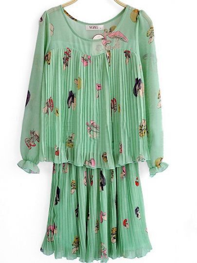 Green Long Sleeve Pleated Mushrooms Print Peplum Chiffon Blouse