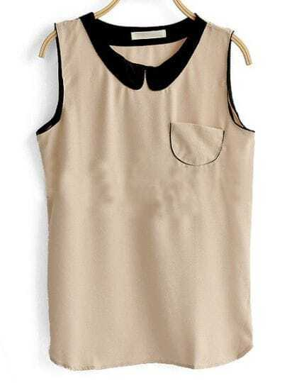 Light Brown Patched Contrast Collar Sleeveless Pocket Blouse
