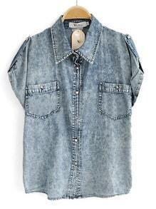 Blue Short Sleeve Studded Pockets Distressed Denim Shirt