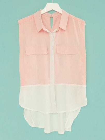 Pink Sleeveless Contrast Hem and Pleated Back Pockets Chiffon Shirt