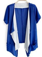 Blue Short Sleeve Ruffle Chiffon Cardigan