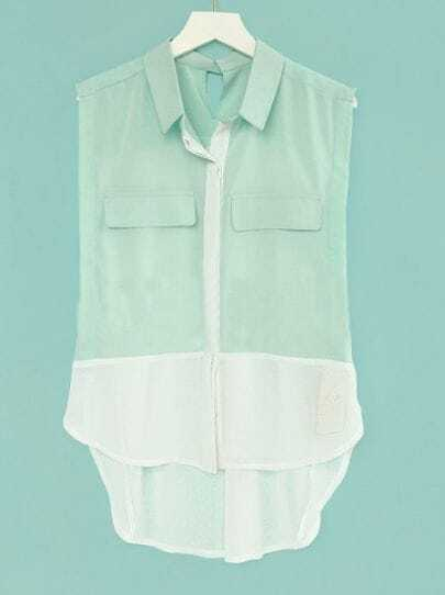 Green Sleeveless Contrast Hem and Pleated Back Pockets Chiffon Shirt