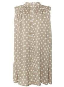 Coffee High Neck Sleeveless Polka Dot Loose Chiffon Dress