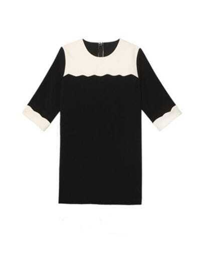 Black And White Round Neck Half Sleeve Loose Chiffon Dress