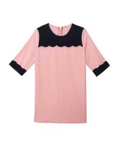 Pink And Black Round Neck Half Sleeve Loose Chiffon Dress
