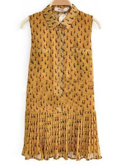 Yellow Lapel Sleeveless Animal Print Pleated Low Waist Dress
